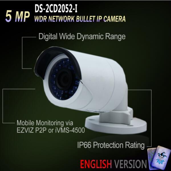 In Stock DS-2CD2052-I Original English Version IP housing 5MP Bullet IR Camera POE security P2P Onvif H265 Mini White цена 2017
