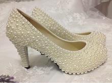 2016 Popular Fashion Ladies Imitation Pearl Bridal Shoes High-Heel Wedding Shoes Custom Made Woman Banquet Shoes