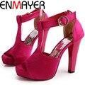 ENMAYER Sapatos de Verão Novos Sapatos Da Moda das Mulheres Sexy T cinta-Sandálias Plataforma Mulheres Sandália De Salto Alto Tamanho Grande 34-45
