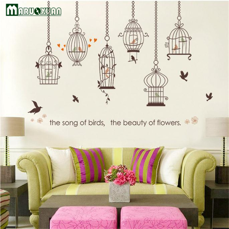 47079cc04 MARUOXUAN Bird Cage Cartoon Wall Sticker For Living Room Bedroom Kids Room  Kindergarten Window Shop Home Decor Wall Decal -in Wall Stickers from Home  ...