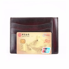 TERSE_Factory price handmade leather men card holder Italian cow leather luxury id card wallet in black/ iron grey/ coffee OEM