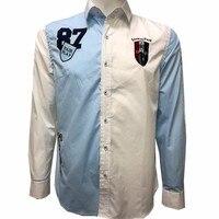 Eden Park Luxury High Quality Embroidery Cotton 2018 New Men Shirt Brand Long Sleeve Patchwork Man