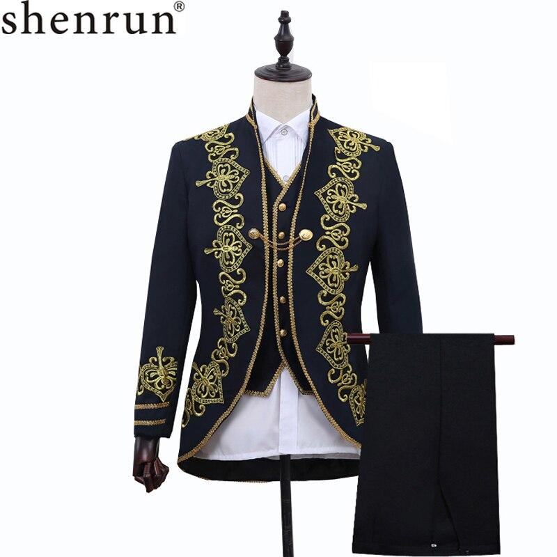 Shenrun 3-Piece Men Suit Court Prince Uniform Floral Pattern Embroidery Wedding Stage Costume Male Jacket Vest Pants Party Prom