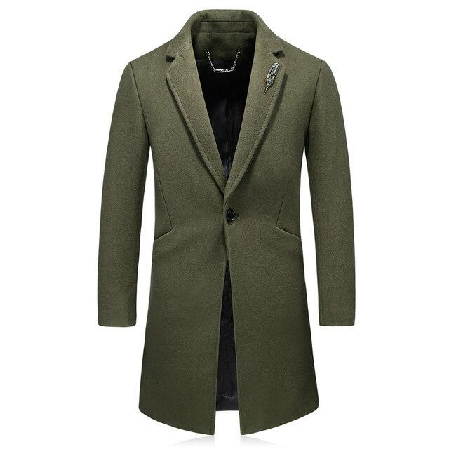 Высокого качества Для мужчин досуг Шерстяные пиджаки куртки осень-зима кашемировое пальто Для мужчин Толстая нагрудные среднего возраста Для мужчин кашемир длинное пальто