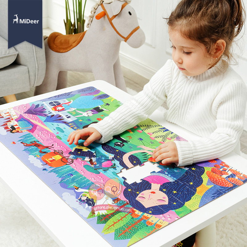 MiDeer Kinder Große Jigsaw Puzzle Set 104 stücke Baby Spielzeug Dinosaurier Märchen Dornröschen Pädagogisches Spielzeug für Kinder Geschenk