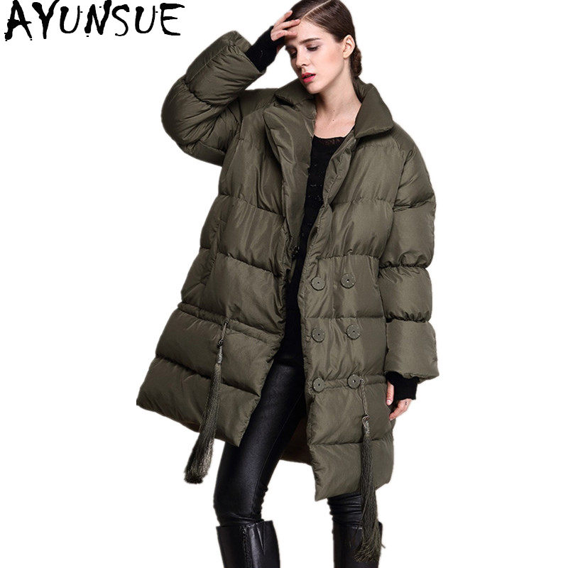AYUNSUE European Winter Women's   Down   Jacket Female Thicken Warm Jackets For Women Medium Long   Down     Coats   doudoune femme OYG-0174