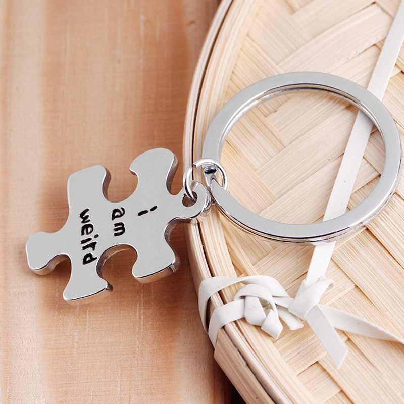 001078c5a1 ... I Am Weird I Love Weird Puzzle Piece Key Chain Set of 2, Hand Stamped  ...