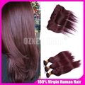 New fashion style 99j color hair bundles with lace frontal burgundy brazilian virgin human hair weaves with lace frontal closure