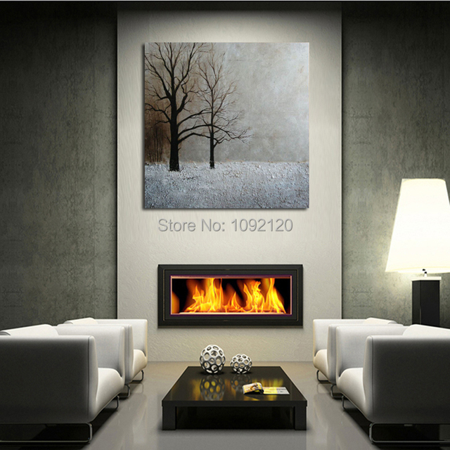Hand Painted Modren Wall Art Decor Abstract Living Room Hall Winter Snow  Tree Landscape Oil