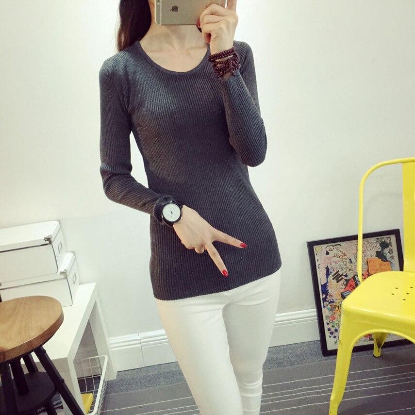 nuevas mujeres de la moda Otoño invierno gruesa hecha punto camisa de las mucha
