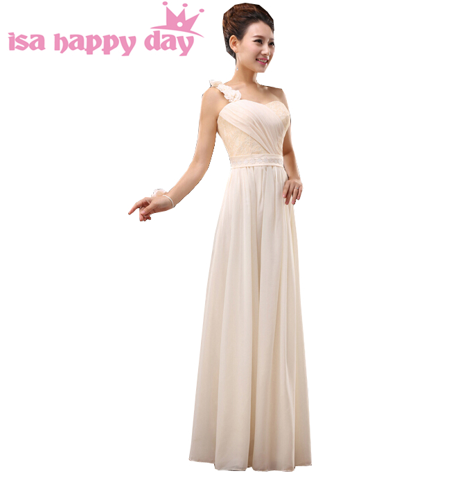 Plus Size A Line One Shoulder Champagne Colored Chiffon Long Elegant
