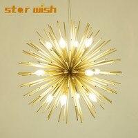 Star wish Post modern Gold Fireworks chandelier for Living Room Restaurant led radiation sphere art designer hunging lighting