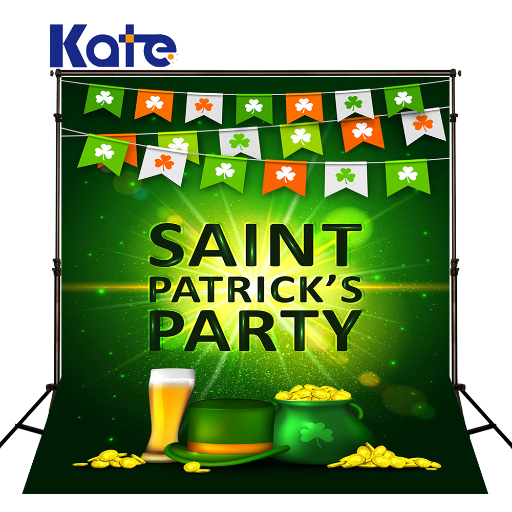 KATE Photography Background St. Patrick's Day Backdrops Green Clover Backdrop Glass and the Flags Photo for Photocall Party allenjoy backdrop spring background green grass light bokeh dots photocall kids baby for photo studio