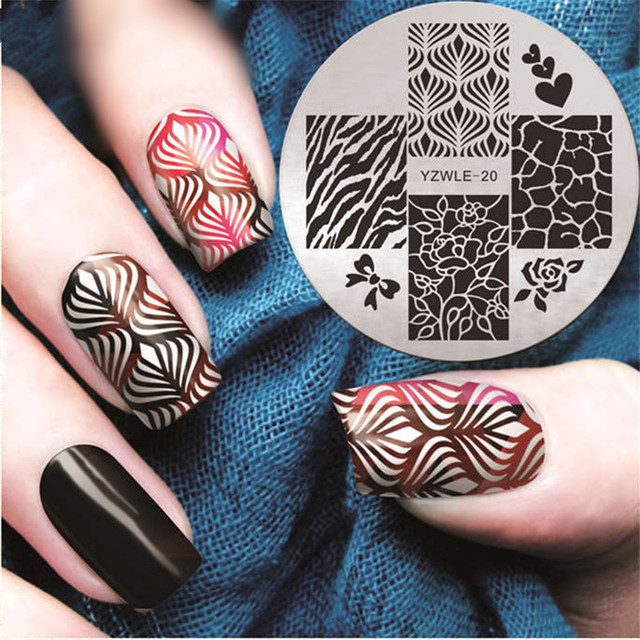 Cracked Flower Nail Stamping Plates Heart Nail Art Stamp Plate Nail ...