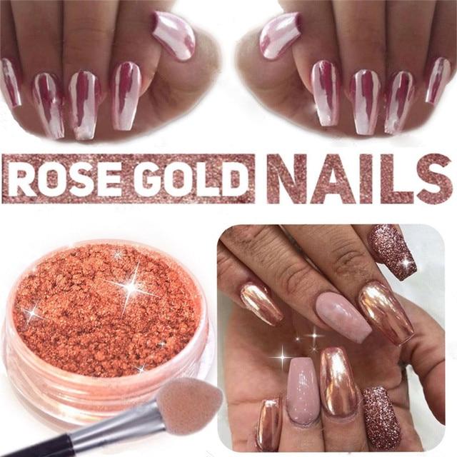 1 Caja de Oro Rosa Caliente Uñas Espejo Powder Uñas Decoración Del ...