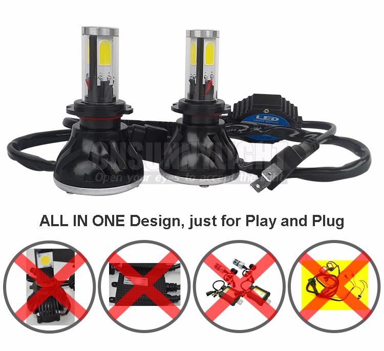 CNSUNNYLIGHT COB LED Headlight Kit H7 H11 H8 9005 HB3 9006 HB4 40W 4000LM Car Head Lamp Fog Light Replacement Bulb Play and Plug (12)