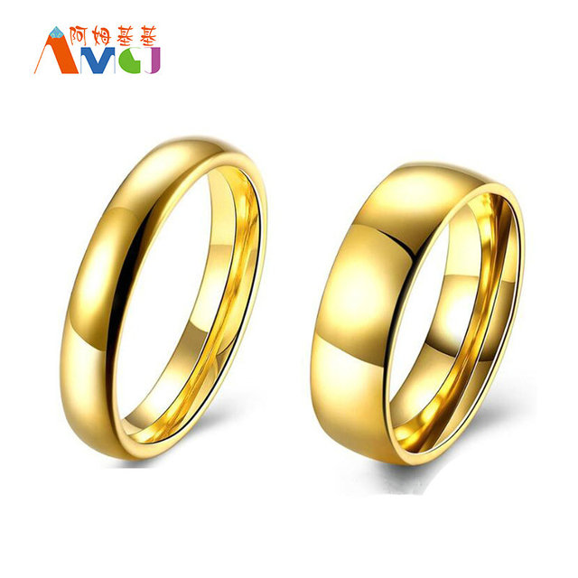 AMGJ Lover Wedding Bands Rings Gold Color Couple Rings Stainless ...