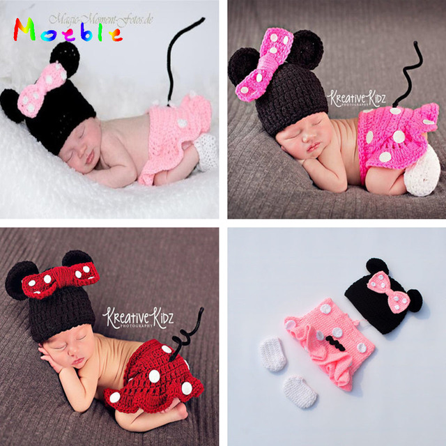9acb6e55bdcf6 US $2.93 22% OFF|Latest Crochet Baby Cartoon Costume Knitted Newborn Baby  Coming Home Outfits Mickey Baby Girl Photo Props 1set MZS 16028-in Hats &  ...
