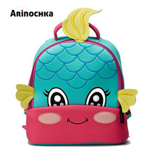 Lovely Little Kids Mermaid School Bag Zoo Animal Backpack Cartoon Unicorn Toddler Small Baby Bag Beautiful Butterfly for Girls(China)