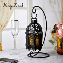 MagiDeal Moroccan Wall Hanging Colorful Glass Lamp Lantern Tea Light Candle Holder, Home Decorations Wedding Party Decor(China)