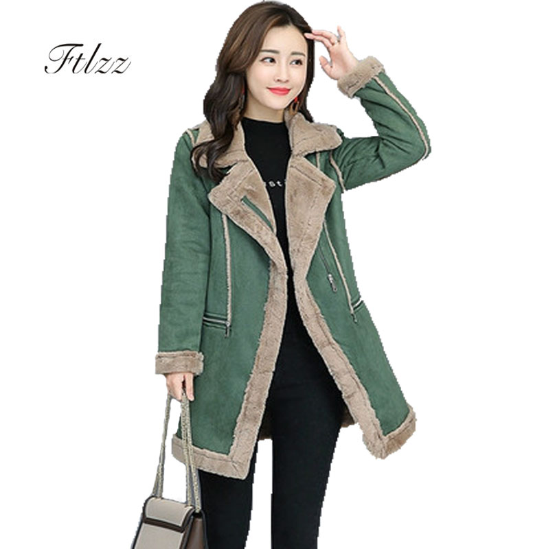 Womens   Parka   Femme Casaco 2018 New Autumn Winter Medium Long Patchwork Faux Wool Liner Jacket Ladies Turn Down Collar Coats