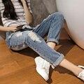 Boyfriend jeans para Mujeres Grandes Del Agujero Rasgados pantalones Vaqueros de Diseño de Mezclilla pantalones vaqueros de Cintura Alta pantalones de las mujeres de la vendimia capris Más los pantalones del Tamaño