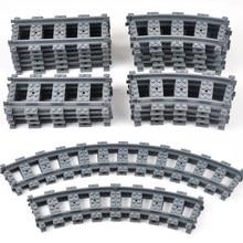 Cidade trem faixas trem ferroviário reta curvo faixas define blocos de construção tijolos cruz flexível peças pista crianças brinquedo construção