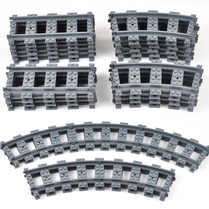 Image 1 - City Train Tracks Train Rail Straight & Curved Tracks Sets Building Blocks Bricks Parts Kids Diy Construction Toys Model