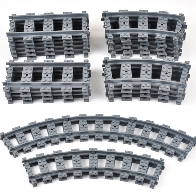 City Train Tracks Train Rail Straight & Curved Tracks Sets Building Blocks Bricks Parts Kids Diy Construction Toys Model