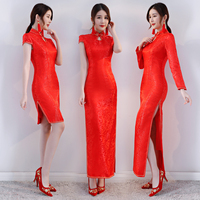 Classic Red Women Wedding Dress Traditional Mandarin Collar Cheongsam Chinese Women Evening Party Qipao Vestidos Plus Size S 4XL
