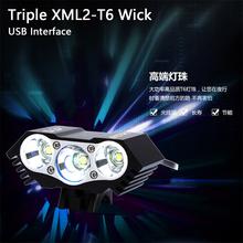 6000 lumenów Triple XM-L T6 L2 rower LED Light latarka 5V 2A XML2 wysoka jasność podłącz Power Bank interfejs USB tanie tanio ROBESBON Kierownica Baterii Black Red