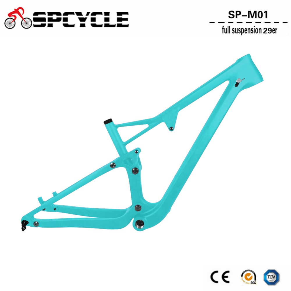 Spcycle 29er T1000 Carbon Full Suspension MTB Frame 29er Mountain Bike Carbon Frame OEM 142*12mm Thru Axle 165*38mm Travel 29er full suspension mountain bike toray carbon fiber mtb bicicleta bicycle frame ud matt bb92 165 38mm rear shock travel 110mm