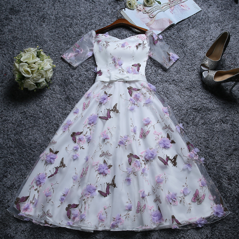 WB666 Plus Size Tea Length Cocktail Dress Formal Party Dresses Pattern Floral Pink Purple