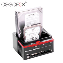 "Deepfox 2.5/3.5 ""Sata Ide Hdd Docking Station Clone Hdd Behuizing Usb 2 Poorten Usb 2.0 Hub Ms /M2/Xd/Cf/Sd/Tf Kaartlezer(China)"