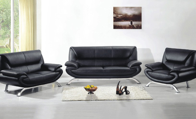 Free Shipping Leather Furniture New Genuine Leather Modern Sectional Sofa  Set, 123 Chair Love Seat