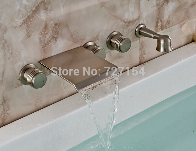Free Shipping! Luxury Nickel Brushed Bathroom Tub Faucet 3 Handles Sink Mixer Tap Wall Mounted цены онлайн