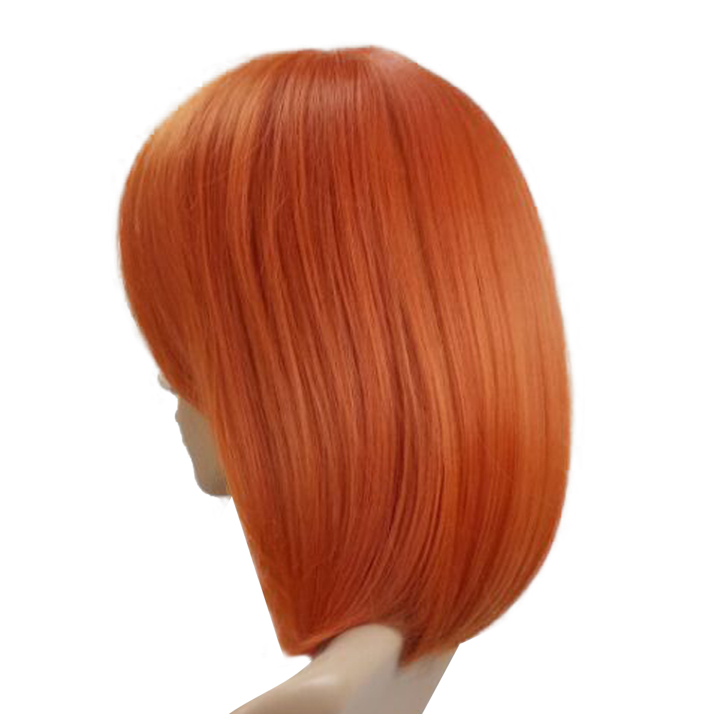 HAIRJOY Woman Wig Side Bang Short Straight Heat Resistant Synthetic Hair Purple Orange Black Silver Grey Red Costume Wigs 2