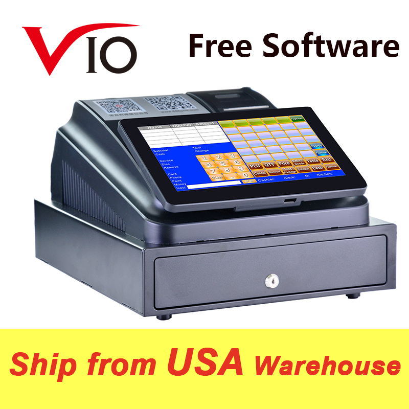With Professional POS Software 10 inch Touch Screen POS System ECR Cash Register Machine For Restaurant
