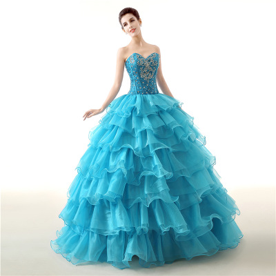 New In Stock Ball Gown Cheap Quinceanera Dresses Organza With Beads Sequined Sweet 16 Dress For 15 Years Debutante Gown in Quinceanera Dresses from Weddings Events