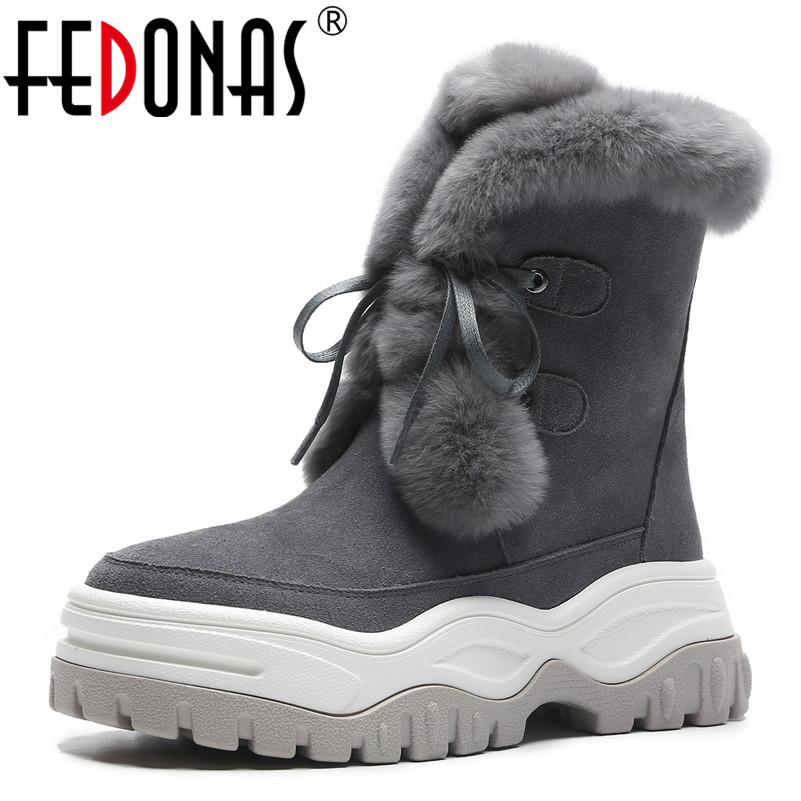 FEDONAS Fashion Winter Women Cow Suede Snow Boots Platforms Lace Up Cute Casual Shoes Woman High Quality Ladies Short Basic Boot xgvokh ankle boots women winter warm cow suede leather high quality shoes woman fashion lace up boot short boots height