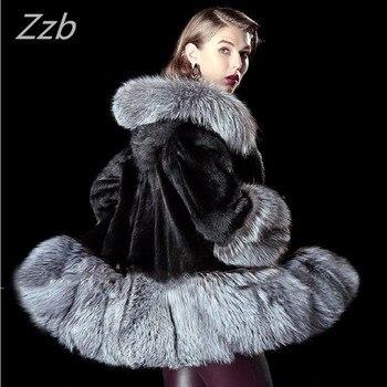 ZZB017 Special Offer 2018 New import European Fashion Winter Women Faux mink  Fur Luxurious High Quality artificial Fox Fur Coat