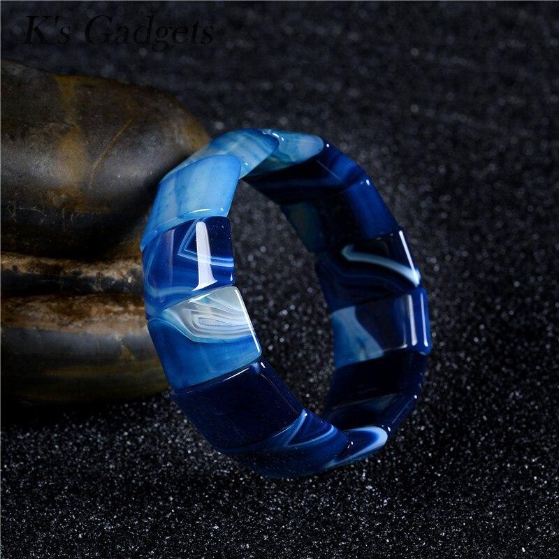 Ks Gadgets Fashion Bohemian Wrap Bracelet Blue Striped Agates Square Natural Stone Bracelets & Bangles For Women Chakra JewelryKs Gadgets Fashion Bohemian Wrap Bracelet Blue Striped Agates Square Natural Stone Bracelets & Bangles For Women Chakra Jewelry