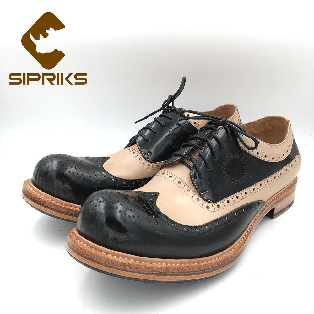 Sipriks Vintage ala punta redonda zapatos de hombre hechos a mano zapatos brillantes de cuero Brogue zapatos estilista zapatos de trabajo zapatos de gran 45 46-in Zapatos formales from zapatos    1