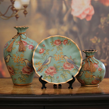 3pcs/Set Europe high quality ceramic vase Hand painted Peacock Antique Porcelain flower creative Wedding Gifts  home decora
