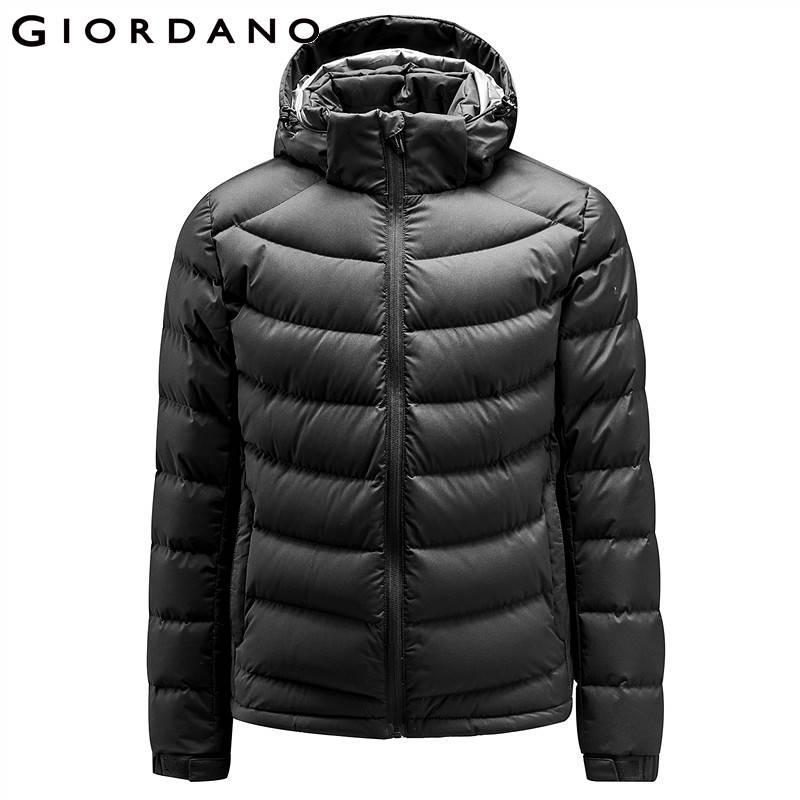Giordano Men Down Jacket Men 90% Content White Goose Down Detachable Down Jacket Men Quality Warm Hood Zip Windproof Coat Winter