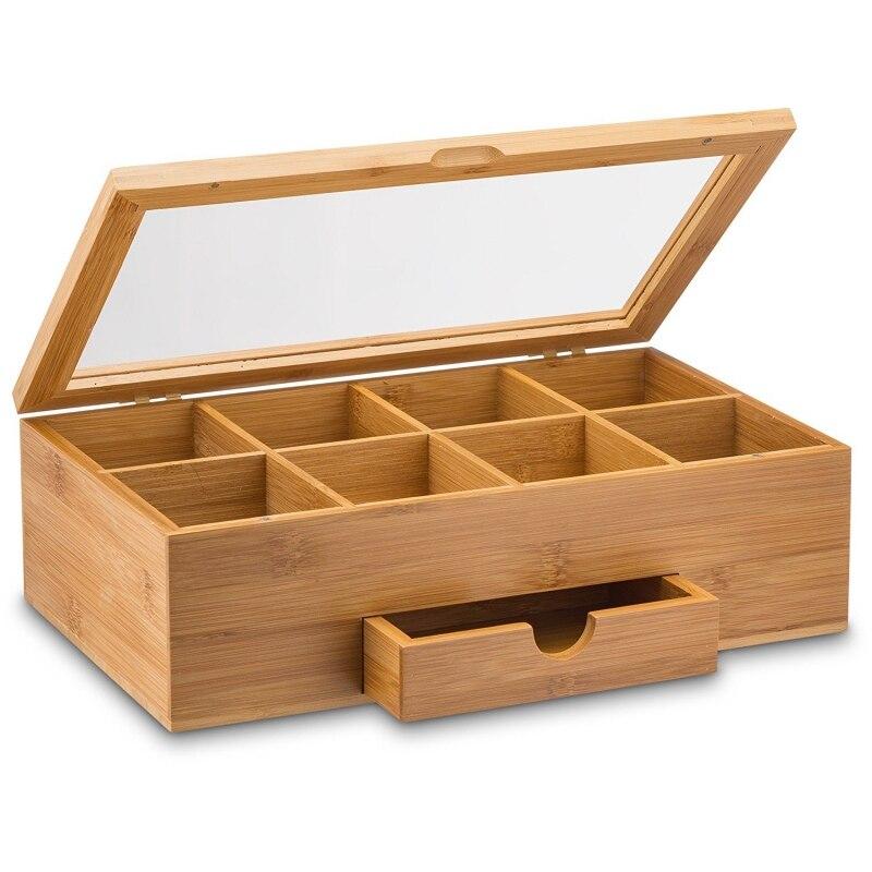 Boîte à thé en bambou boîte de rangement pour bijoux boîte de rangement en bois sac à café en bambou boîte pour la maison de thé organisation