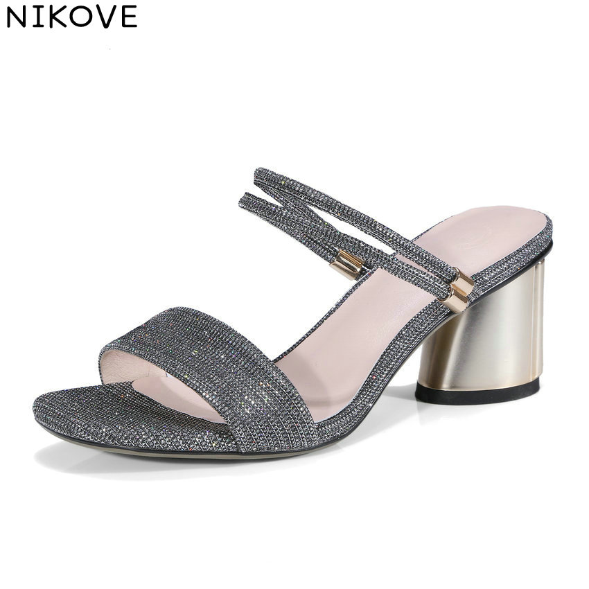 NIKOVE 2018 Western Style Women Sandals Summer Metallic Magic Lattice Pattern PU Square High Heels Sandals Shoes Women 34-42
