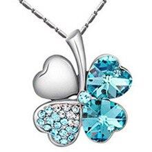 e983403ac9a5 Nueva moda encanto mujeres accesorios calidad amantes de cristal austriaco  4 cuatro hojas trébol collar colgantes joyería de mod.