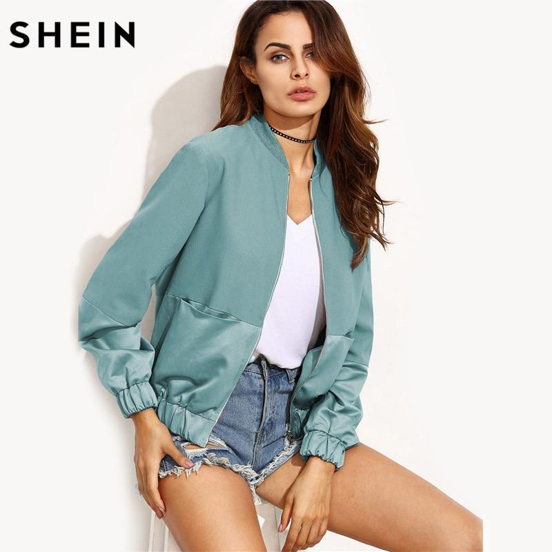 SHEIN Green Stand Collar Mixed Media Zipper Up Pocket Bomber Jacket Women Fall Coats Women