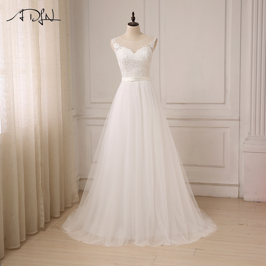 ADLN Cheap Lace Wedding Dress O Neck Tulle Boho Beach